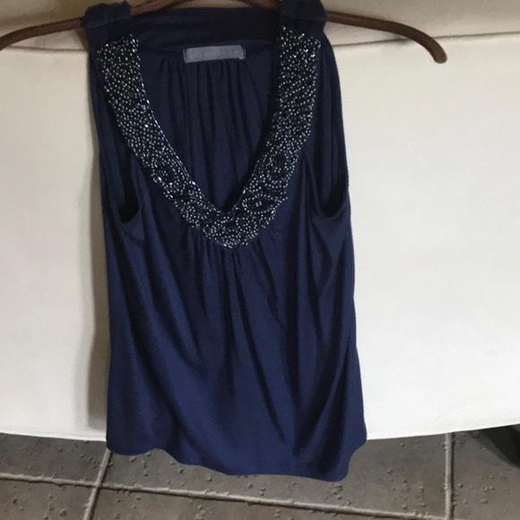 Olivia Moon Tops - Flowy blue beaded tank top